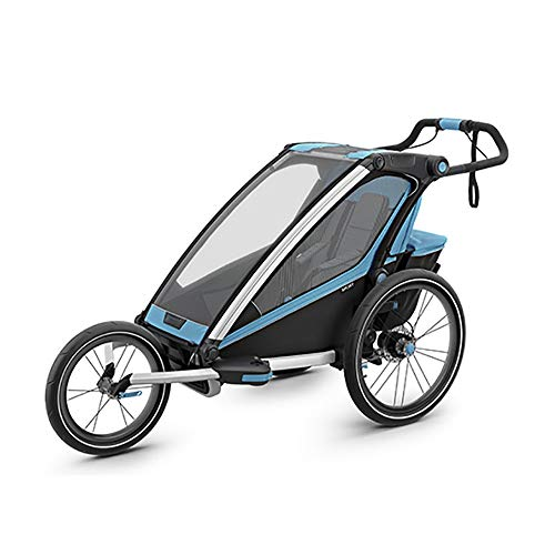 Zxcvlina One Seat Foldable Tow Behind Bike Trailers,Converts to Stroller Jogger,Featuring 2-in-1 Canopy for Kids and Children (Color : Blue, Size : Free Size)