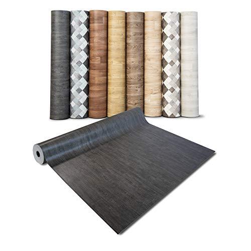casa pura® CV Bodenbelag Vancouver - extra abriebfester PVC Bodenbelag (geschäumt) - Eiche Vintage Dunkel - edle Holzoptik - Oberfläche strukturiert - Meterware (200x500 cm)