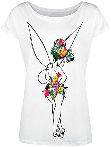 Peter PAN Tinker Bell - Flower Power Frauen T-Shirt weiß M
