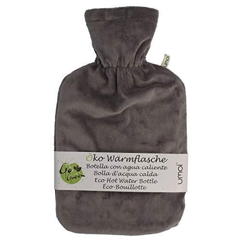 Premium Wärmflasche 1.8 Liter mit hochwertigem Supersoft Korean Fleece Bezug mit Reißverschluss und extra Fütterung - BS1970:2012 zertifiziert - neues Modell - TÜV geprüft (grau)