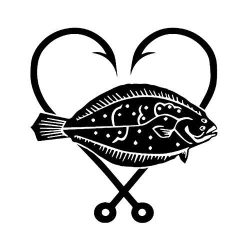 BDDLLM Bilklistermärke 14,8 cm x 15,5 cm i love fishing rödspätta hjärta vinyl dekal krok fisk bil klistermärke svart/silver C24-0457 svart