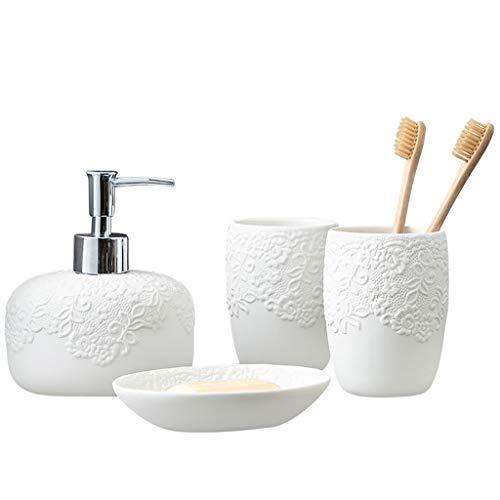 MELAG Juego de Accesorios para baño Hermoso Encaje,Juego de artículos de tocador de cerámica para baño de Cuatro Piezas para Parejas,Juego de (Botella de loción,Taza de Enjuague bucal,Caja de jabón)