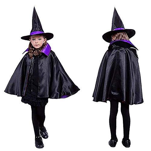 MMTX Hexe Zauberer Umhang und Hut für Kinder Halloween Kostüme Party Maskerade Requisiten Cosplay Schulausstellung Doppelseitig Umhang Kostüm für Jungen Mädchen(lila/schwarz)