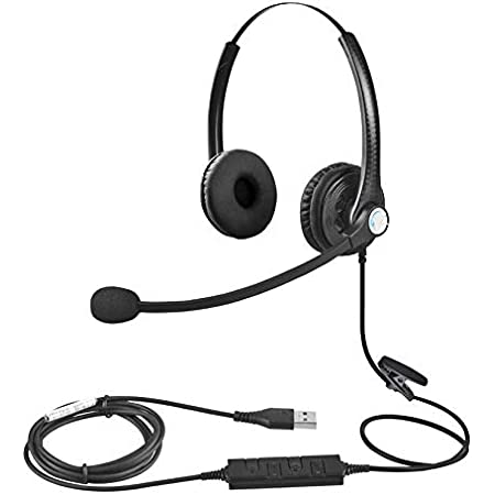 T opiky Call Center Headset Ear-Hook USB Customer Service Headphones Telephone Communication Operator Earphone with Mic Supports Volume Adjustment for Professional Call Box VOIP Net Call