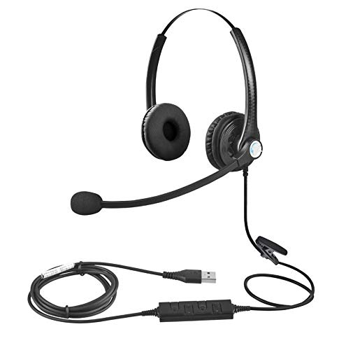 USB Headset with Microphone Double Sided for Business Skype Work from Home Call Center Office Video Conference Computer Laptop PC VOIP Softphone Telephone Noise Cancellating Headset Headphone