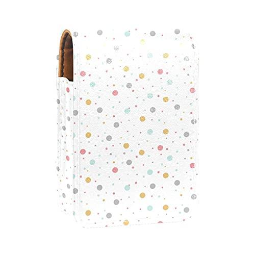 Gros Pois sur Fond Blanc Imprime l'étui à Rouge à lèvres Mini Sac Organisateur de Support de Rouge à lèvres avec Miroir pour Sac à Main Pochette cosmétique de Voyage