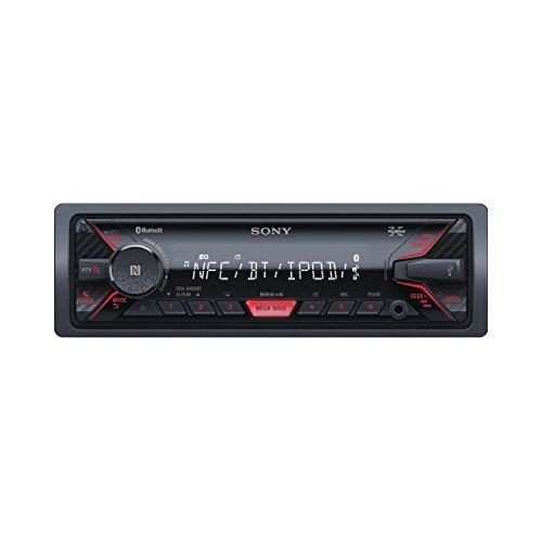 Sony DSX-A400BT Autoradio senza Lettore CD, Bluetooth, Ingresso AUX e USB, Controllo Diretto di iPhone e iPod, 4 x 55 W, Nero/Rosso
