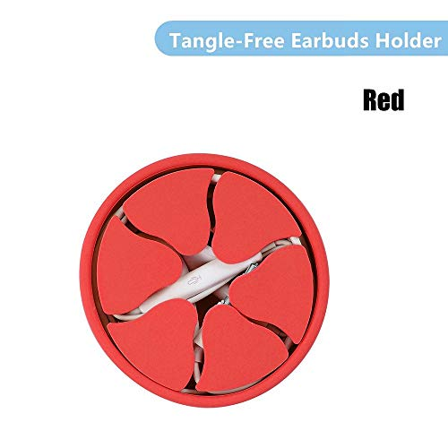 Fousamax Mini Siliconen Oortelefoon Houder Case Rubber Winder Stretch Oordopjes Opslag Organizer Magnetische Oordopjes Oortelefoon Houder Hoesje (geel), Rood