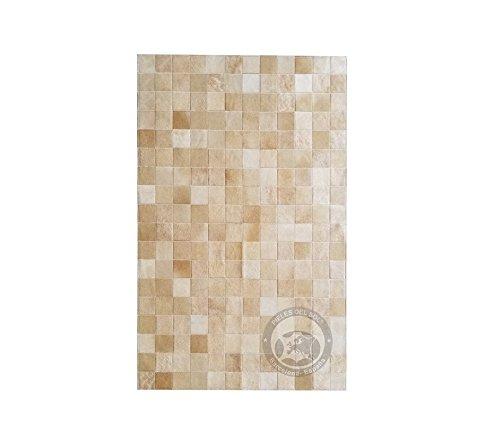 Sunshine Cowhides Teppich aus Kuhfell Patchwork, Farbe: Beige, Premium - Qualität von Pieles del Sol aus Spanien (120 x 180 cm)