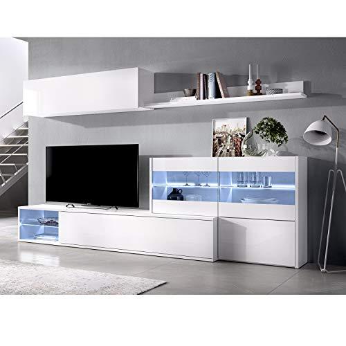 HABITMOBEL Mueble salón Comedor Moderno con Leds, Acabado en Blanco Brillo Lacado, Medidas: 260x41 cm