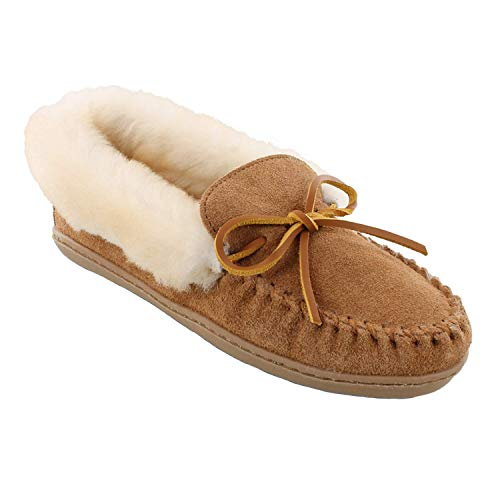 Minnetonka Women's Alpine Sheepskin Moc, Golden Tan, 9 M US