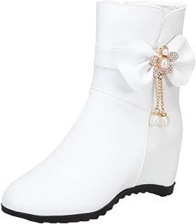 VulusValas Women Mid Heel Ankle Boots Zip