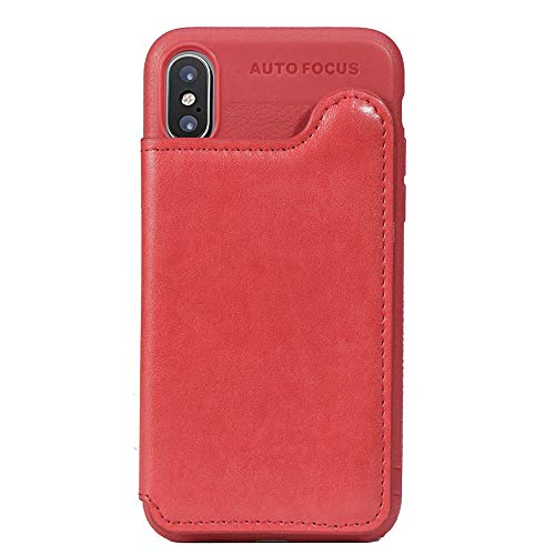 Suhctup Coque Compatible pour Samsung J2 Core/J260F [Revêtement Arrière en Rabat Portefeuille ] Cuir PU et Silicone TPU,Etui avec Emplacement de Porte Carte Housse avec Fonction de Support(Rouge)