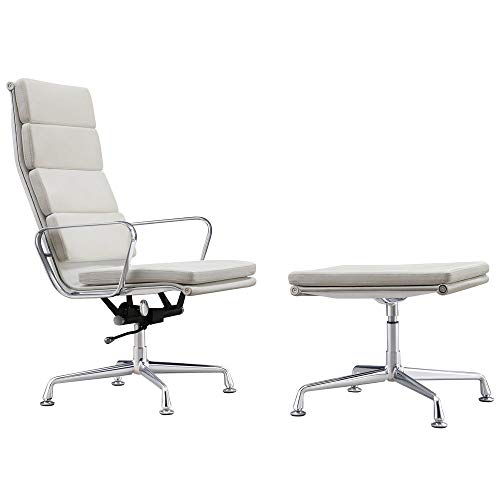 Vivol Design fauteuil Lerida met Hocker - Wit - Echt leder