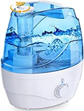 Homasy OceanMist 2.2L Humidifiers for Bedroom, 28dB Whisper-Quiet Cool Mist Humidifier, Easy to Clean Air Humidifier, Auto Shut-Off, 30H Work Time, Blue