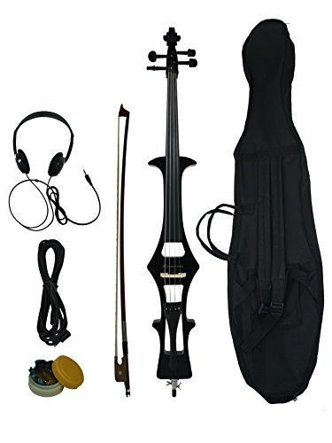 4/4 Black Metallic Electric Cello, w/a gig bag,bow,rosin, headphone, cable & battery Ebony Fittings