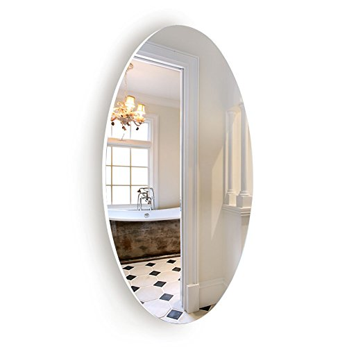 Facilehome Oval Wall Mounted Mirror Dressing Mirror Frameless,Bedroom or Bathroom Mirror,Horizontal or -
