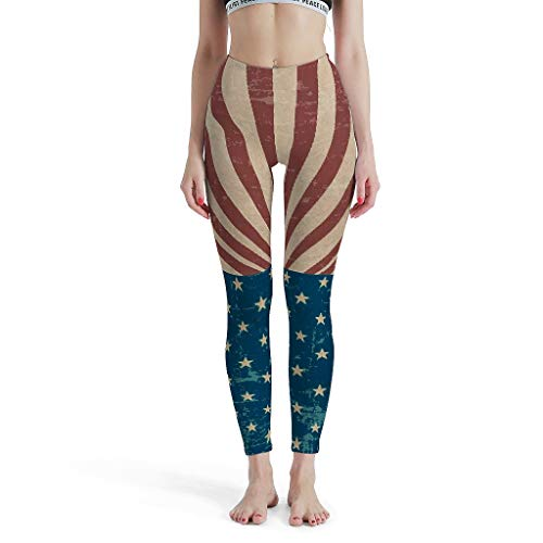 Dofeely Dames Flag patroon Yoga Pants lange broek Quick-Dry Veilige Tights Capri Sport Joggingbroek Muay Thai Design