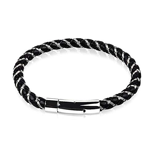 Jewellery Bracelets Bangle For Womens Punk Men Jewelry Braided Leather Bracelet Stainless Steel Magnetic Clasp Trendy Bangle Hiphop Male Wristband Gift-4_20.5Cm