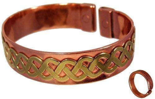 Brazalete de Cobre Unisex con Diseño de Encaje Celta con Líneas Grabadas - Juego de Combinación para Hombre o Mujer - Tamaño de anillo mediano: 19-21mm