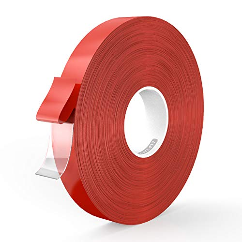 LLPT Double Sided Tape Acrylic Waterproof Residue Free Strong Mounting Tape Multiple Sizes 0.24 Inch x 108 Feet for Nail Box Home Deco and DIY Clear(AC0240)