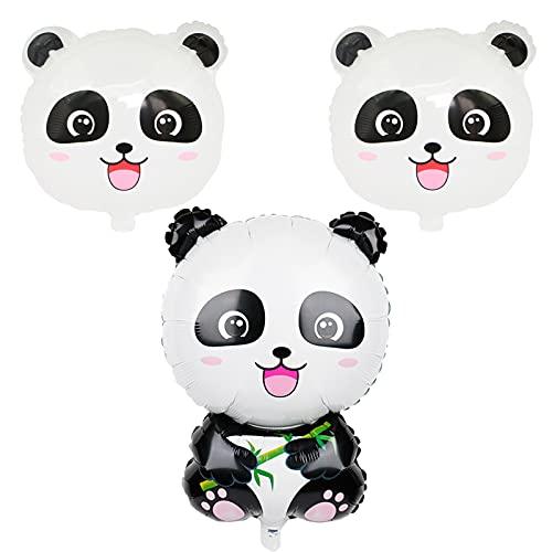 Panda, 3 palloncini decorativi in pellicola di alluminio per ragazzi e ragazze, a tema panda