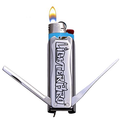 LighterBro Slim - Lighter Sleeve - Multi-Tool - Stainless Steel - Silver