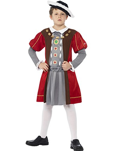Smiffy 'S Horrible Histories Henry VIII kostuum met versierde tuniek en hoed (bruin) - parent Medium bruin