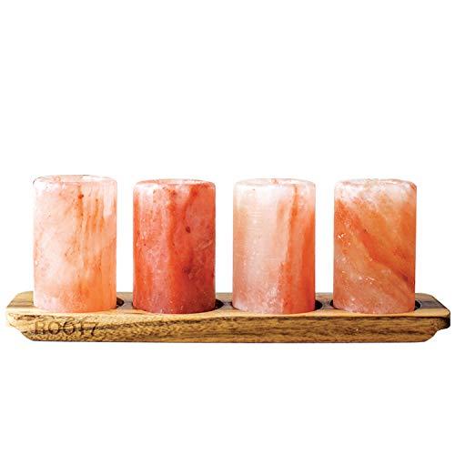 Vasos de chupito de Root7, 4unidades, con bandeja para servir de madera de acaciaVasos de chupito de comercio justo.Presentados en una bonita caja.