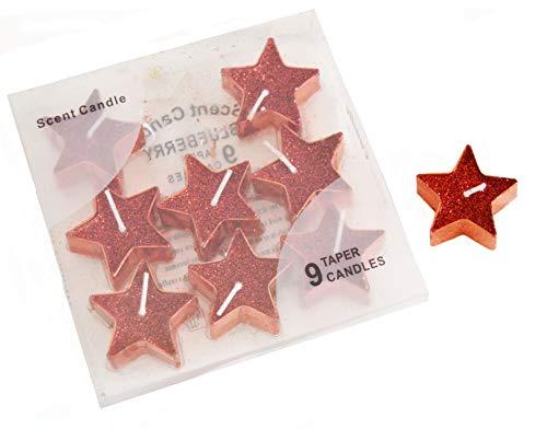 EL CARNAVAL 9 Velas Plateadas en Forma de Estrella.