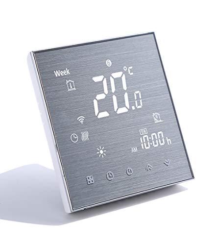 Qiumi Termostato WiFi inteligente controlador de temperatura para calefacción por suelo radiante eléctrico funciona con Amazon Alexa Google Home 16A 220V Innovación Panel cepillado(Brillo ajustable)