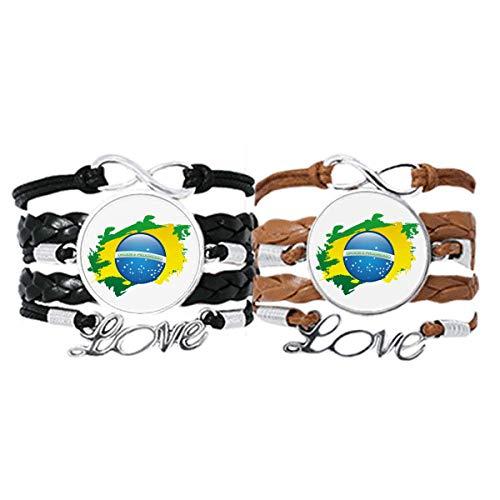 DIYthinker Pulseira com mapa de elementos culturais da bandeira do Brasil, pulseira de couro, conjunto duplo para presente