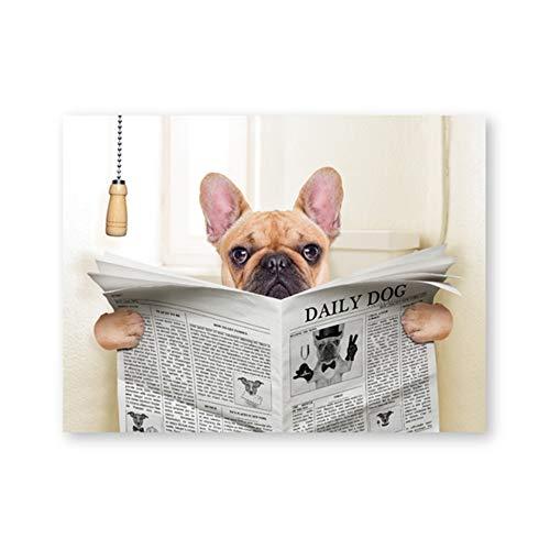 HSFFBHFBH Gemälde Bild Französische Bulldogge Hund sitzt auf Toilette und liest Zeitschrift Leinwand Kunst Poster drucken lustige Kunst Badezimmer Wand Dekor 50x70cm kein Rahmen