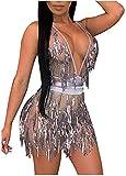 L'VOW Women's Glitter Sexy Deep V Neck Sequin Beaded Halter Bodycon Mini Nightclub Party Dress (L, Silver)