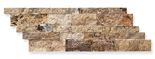 Scabos Travertine 7 X 20 Stacked Ledger Wall Panel Tile, Split-Faced (Small Sample Piece)