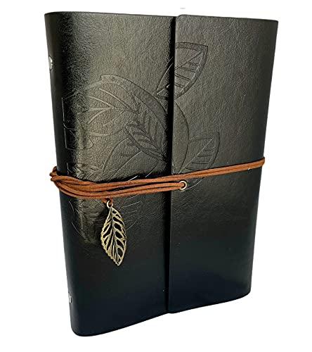 mundoHogar Diario de Viaje Vintage, Libreta de Bolsillo con Cubierta de Tipo Piel, Hoja Decorativa, Retro, Cuaderno Estilo Clásico - Grande (23x16.5 cm), Negro