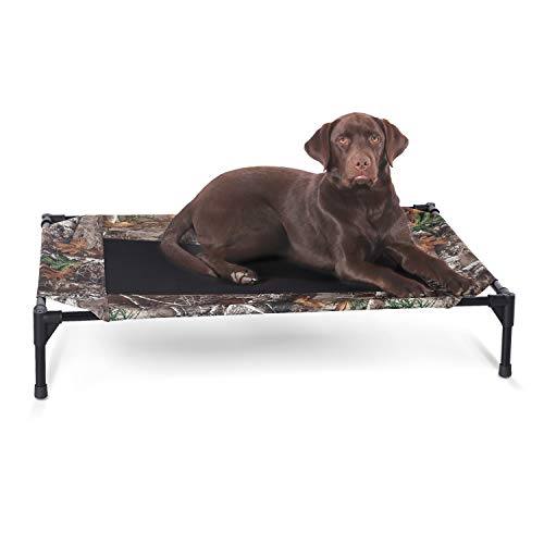K&H PET PRODUCTS Original Pet Cot Elevated Dog Bed Realtree Edge Camo/Black Mesh Large 30 X 42 X 7 Inches