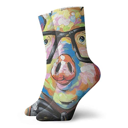 Calcetines Casuales Klnsha7 Cute Colorful Animal Smart Potter Pig Printed Sport Athletic Calcetines Calcetines...