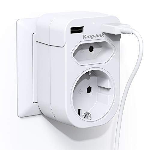 KingLink USB Steckdose, Steckdosen(4000W) 2 Fach mit 2 USB Anschluss (2.4A), 4 in 1 Steckdosenadapter mit USB Ladegerät, Doppelstecker mit USB Stecker Kompatibel für Phone Laptop, Weiß