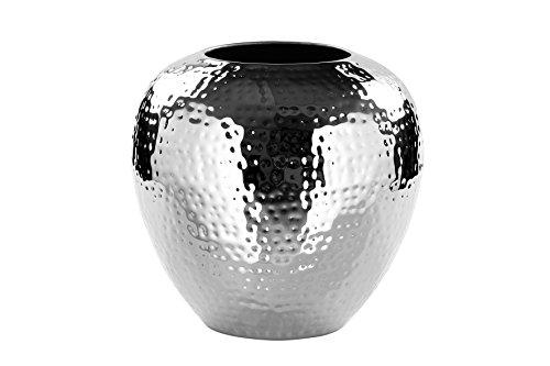 Fink Vase Losone - Eisen vernickelt silberfarben handgefertigt H 25 cm