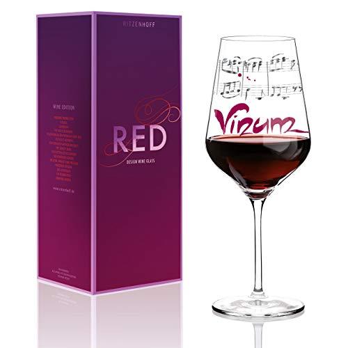 RITZENHOFF Red Rotweinglas von Annett Wurm, aus Kristallglas, 580 ml, mit edlen Platinanteilen