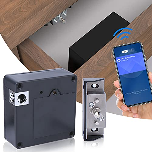 Hidden RFID Cabinet Lock, Electronic Cabinet Lock, NFC Supported (Android Only), EEOO Invisible DIY Lock for Wooden Cabinet, Drawer, Wardrobe, Weapon Storage