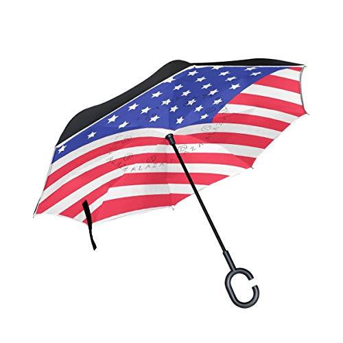 Rode paraplu met Amerikaanse vlag en greep in C-vorm voor regen, voor huis en buiten, winddicht, dubbellaags, omgekeerd.