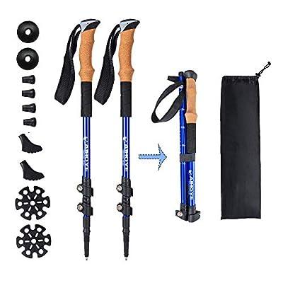 Aihoye Trekking Waling Hiking Poles Collapsible Lightweight - Adjustable Anti-Shock 7075 Hiking Walking Sticks 2 Pack with Strong Quick Flip-Lock and Comfortable Cork Grips