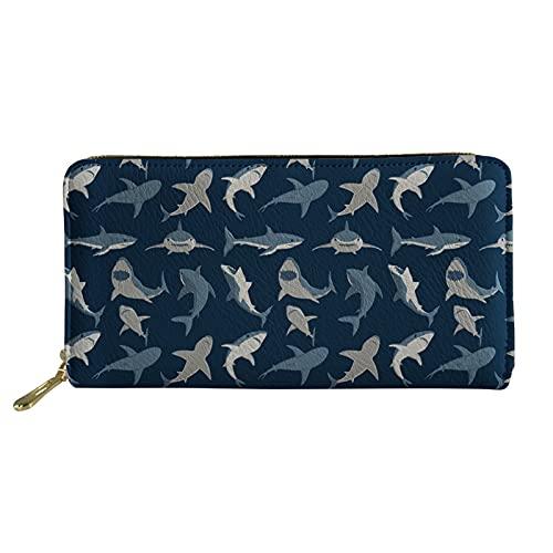 Showudesigns Animal largo cartera cuero mujeres embrague monedero para mujeres trabajo de negocios, Dark Blue Shark (Azul) - Showudesigns