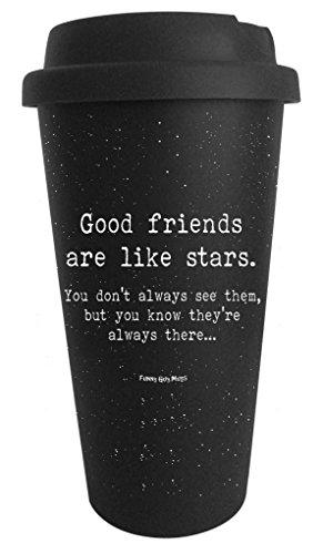 Funny Guy Mugs Good Friends Are Like Stars Travel Tumbler, Black, 16-Ounce