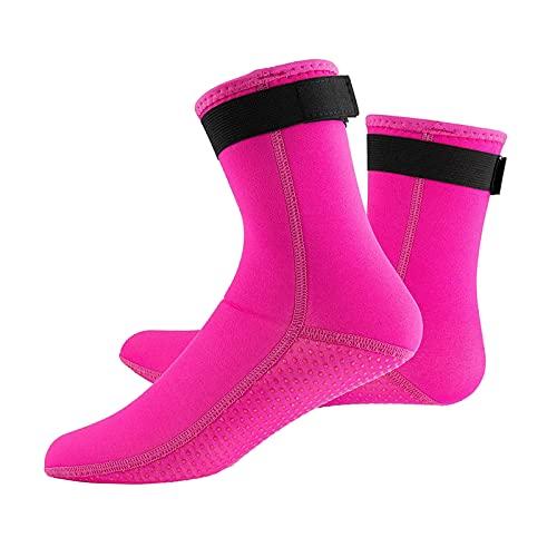 Unbekannt 3 mm neoprenowe skarpety do nurkowania, surfowania, termiczne, elastyczne, do pływania kajakiem, antypoślizgowe buty do raftingu, nurkowania, pływania, żeglowania, wędrówek - różowe czerwone M