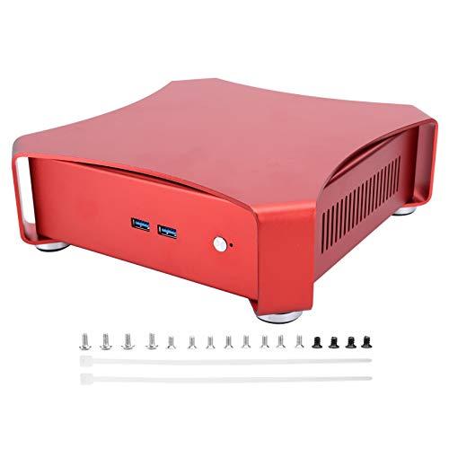 Yivibe Estuche Mini HTPC, Estuche ITX Elegante con 2xTie Belt para computadora de Juegos para máquina de Publicidad(Red Wine)