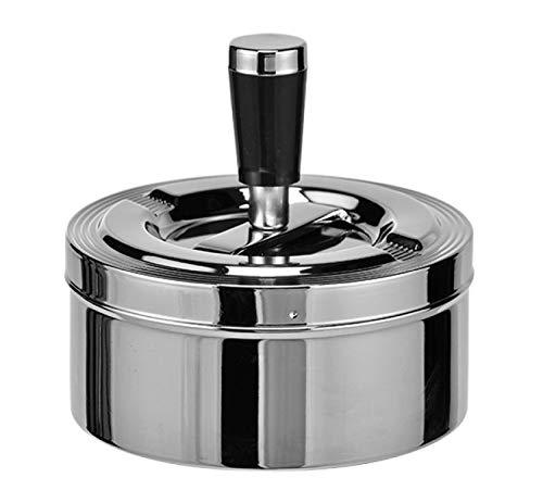 Land-Haus-Shop® 1 Stück Drehaschenbecher Drück Aschenbecher Windascher Windaschenbecher Ascher Metall Chrom 11cm Durchmesser