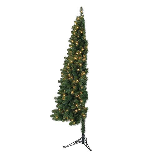 Home Heritage 7 Foot Pre-Lit Artificial Half Pine Christmas Tree with Warm White LED Lights and...